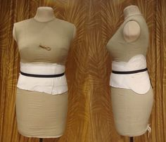 """Uniquely You"" foam Dress Form padded out with different forms of padding to get the exact measurements of the owner"