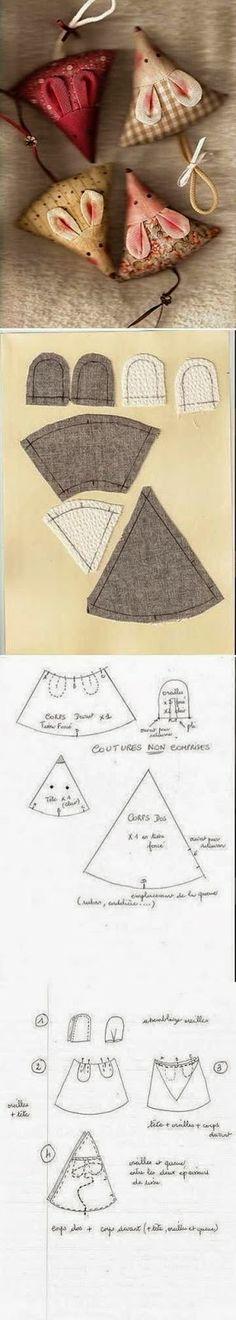 ARTE COM QUIANE - Paps,Moldes,E.V.A,Feltro,Costuras,Fofuchas 3D: usando os retalhinhos:ratinho de tecido