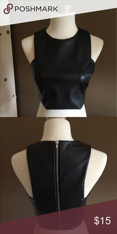 Fitted Faux Leather Crop Top (Forever 21) Fitted faux leather crop top from forever 21. Size medium and never worn. Forever 21 Tops Crop Tops