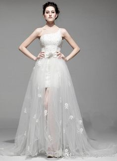 Wholesale A-Line Wedding Dresses - Buy 2014 New Arrival White Bridal Gown One-Shoulder Beads Crystal Sleeveless Bow Sweep Train Flowered Detachable Organza Lace-up Wedding Dress, $228.0 | DHgate