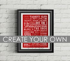 Think about your friends, dorms, dining halls, restaurants, bars, inside jokes, buildings, streets, teams, cheers and memories. These prints make great gifts for current Ohio State students, alumni, and fans in general!