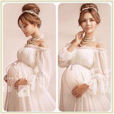 Vestido de Maternidade branco Vestido de Renda Gravidez Adereços Fotografia Fantasia Sessão de Fotos de Maternidade Longa Camisola Vestido 2016 New Arrival em Vestidos de Mãe & Kids no AliExpress.com | Alibaba Group