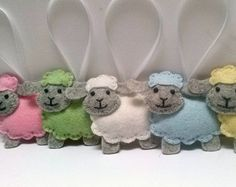 Felt sheep ornament Cute sheep toy Easter by Rainbowsmileshop