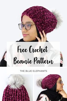 Juliet Beanie: Free Crochet Beanie Pattern with Velvet Yarn The Juliet Beanie is a beautiful and simple crochet beanie pattern using velvet yarn and textured stitches! Get the free crochet pattern here and make one! Crochet Diy, Bonnet Crochet, Crochet Crafts, Simple Crochet, Beanie Pattern Free, Crochet Beanie Pattern, Motifs Beanie, Velvet Hat, Crochet Accessories