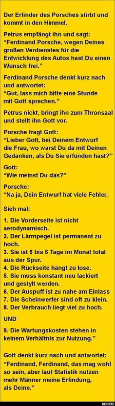 Der Erfinder des Porsches stirbt und kommt in den Himmel.. | Lustige Bilder, Sprüche, Witze, echt lustig
