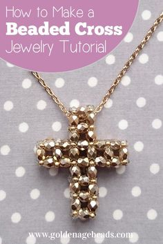 How to make a beaded cross using faceted or round beads! Necklace pendant project. #beading