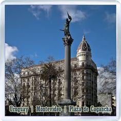 $3.29 - Acrylic Fridge Magnet: Uruguay. Plaza de Cagancha. Montevideo