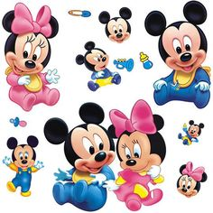 Wall Sticker Decal Mickey and Minnie Mouse for Kids and baby Room Decor Nursery Daycare and Kindergarten DIY Removable Inch Idee di Tendenza di Moda ? Mickey E Minnie Mouse, Pink Minnie, Baby Mickey, Looney Toons, Kids Room Wall Stickers, Cartoon Wall, Disney Home Decor, Decoration, Baby Room