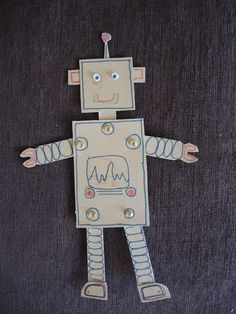 Mister Robot! Looks like fun and easy craft for a young child. Also like this red wooden robot found at https://www.storesonlinepro.com/store/1651239/toyrobots for $10.00
