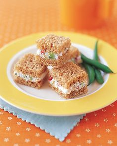 The creamy ricotta filling in these mini sandwiches hides broccoli, carrots, and red bell pepper. Make extra filling if you like -- it will keep in the refrigerator for up to four days.