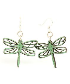 Green Dragonfly Blossom Drop Earrings by Green Tree Jewelry #zulily #zulilyfinds