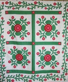 Excellent Vintage Red Green Whig Rose Applique Quilt Vining Border | eBay