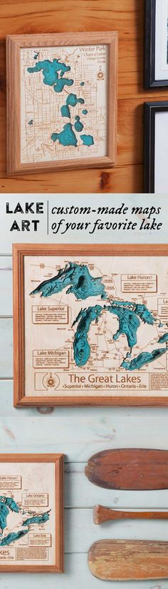These maps are custom-made for commemorating that special lake in your life. The perfect keepsake for decorating your home, cabin or cottage, Lake Art wooden wall maps feature intricate details of more than 4,000 lakes including shorelines, two colors and up to eight depth dimensions.