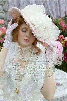 Dressed for High Tea in the Romance of Victorian Style - Lace gloves, a broad brim pink hat with roses & pearls, a lacy collar, a white lace shawl pinned with a cameo brooch / Bella Rosa Designs