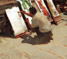 Artist at Work, oil on canvas, 13 x 15 inches, Kim English