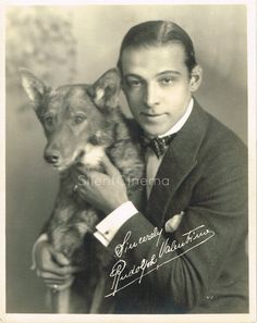 RUDOLPH VALENTINO WITH DOG Deluxe Double-Weight Fan Photo Beautiful Image c.1922