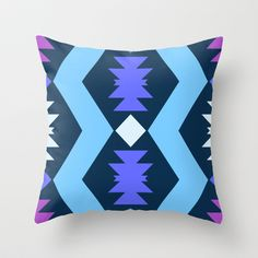 Aztec with Blue & Purple Throw Pillow by Cavendish - $20.00