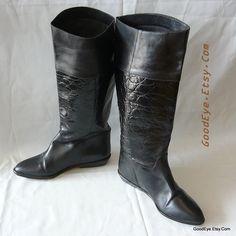 Vintage Nine West Riding Boots size 6 M Eu 36 UK 3 .5 Black Leather Moc Croc Knee Equestrian Flat Heel Brazil by GoodEye on Etsy