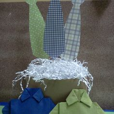 Shirt and tie theme for fathers day; centerpiece and shirt napkins