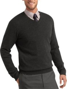 4580aeea24d Pronto Uomo Charcoal Cashmere V-Neck Sweater - Men s Sale
