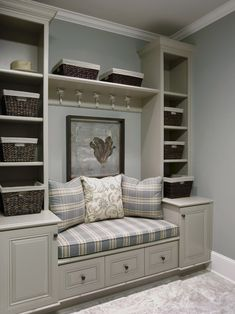 love these built in shelves and seating.. Would be a closet those probably