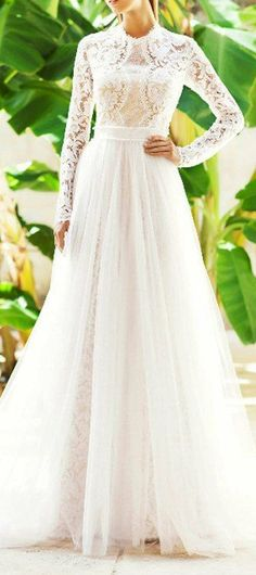 I just love long lace sleeves on a bridal gown
