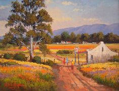 Willie Strydom - Farm Cafe x Watercolor Landscape, Landscape Art, Landscape Paintings, Oil Paintings, Canvas Painting Projects, Canvas Art, South Africa Art, Farmhouse Paintings, Soft Pastel Art