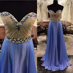 full beaded blue prom dress, unique design, hot sales till now.