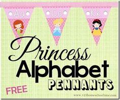 FREE PRINCESS ALPHABET PENNANTS (Instant Download)