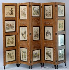 Biombo en madera de roble decape con vistas de paris y tela decorativa 1950, 800 €