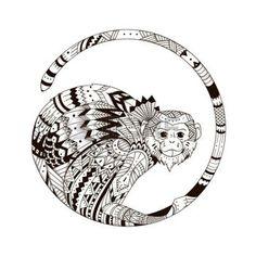 zentangle: Vector estilo mono zentangl. Gráfico estilo de ilustración zentangle 2016. Bosquejo de tótem tatuaje tribal
