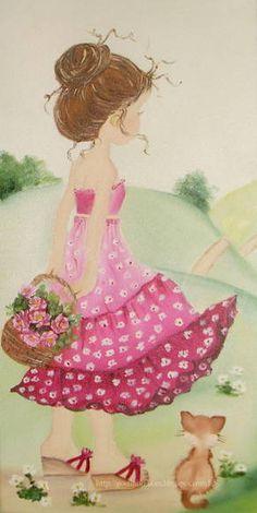 Painel pintado à mão para decoração de quarto infantil feminino. Feito sob encomenda.