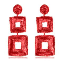 Coral Seed Bead Geometric Drop Square Statement Earrings by Kenneth Jay Lane Jewelry - HAUTEheadquarters.com - Free Shipping on all Designer Jewelry Orders