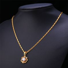 U7 Flower Necklace Women Jewelry Valentines Gift 18K Gold/Platinum Plated AAA Cubic Zirconia Necklace Pendant Wholesale