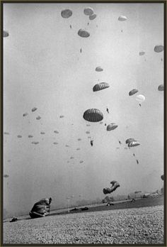 Photo: Paratroopers of the U.S. 1st Airborne Division land near Wesel, Germany on March 24, 1945.