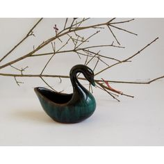 Teal Swan Planter (€14) via Polyvore featuring home, home decor, teal home decor, teal home accessories, glazed pottery planters, glazed planters and pottery planters