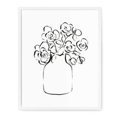 Simple Flower Drawing, Easy Flower Drawings, Floral Drawing, Simple Flowers, Easy Drawings, Rose Line Art, Line Art Flowers, Flower Bouquet Drawing, Printable Flower Coloring Pages