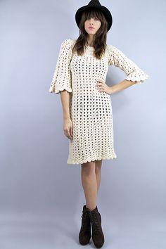 60s CROCHET Sweater Shift Dress SCALLOPED Hem  by TatiTatiVintage, $84.00