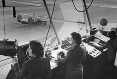Marines directing air traffic in the control tower, 1944