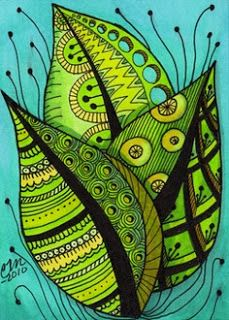 """""""Summer Leaves Zentangle Style"""" by Cindy Vasquez: Bright summer leaves, fine line art with color adroitly added to emphasize patterning, done in pen & ink.Fine art print made from my original illustration. Doodles Zentangles, Zentangle Drawings, Zentangle Patterns, Doodle Drawings, Doodle Art, Zentangle Art Ideas, Mandala Art, Painting & Drawing, Silk Painting"""