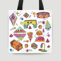 Tote Bag 40x40 cm | Shape Creatures by Bea | No matter how hard you try to shape your body, you won't look as cute as us, not even close! #tas #tote #bag #style #arts #prints #etsy #artwork #gift #design #love #photography #ideas #photo #inspiration #custom #family #friends #diy #travel #totebags #canvas