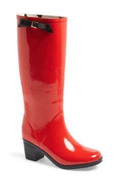 Stay effortlessly chic even in wet, rainy weather with a classic rain boot topped with a stud-embellished kate spade bow. Color(s): black, red. Brand: kate spade new york. Style Name: kate spade new york 'romi' rain boot (Women). Cute Rain Boots, Red Rain Boots, Rubber Rain Boots, Wellies Boots, Rainy Day Fashion, Botas Sexy, Shoe Boots, Shoe Bag, Fashion Essentials