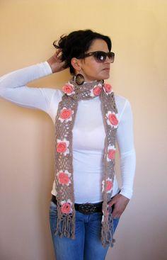 Crocheted Flower Scarf- lofty goal