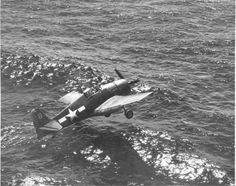 Grumman F6F-3 Hellcat of the VF-7 squadron just before ditches after took off from the USS Hancock aircraft carrier (CV-19) on July 6, 1944.
