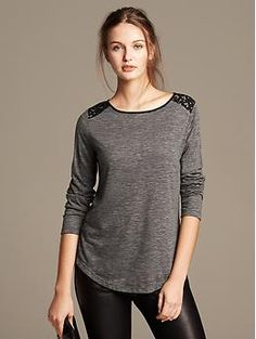 Comes in black as well. Lace-Shoulder Tee
