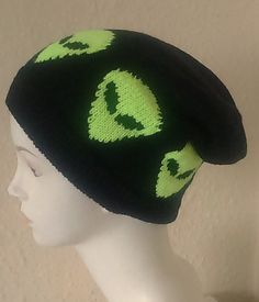 Grunge Knitted UFO Alien Hat Slouchy Hat Black by AlienFashionsUK Slouchy Beanie  Hats eca4b2c7331d