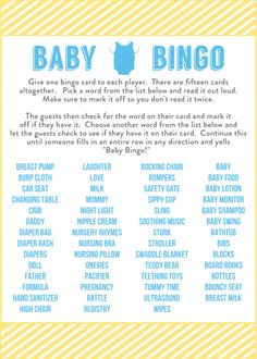 Free Baby Shower Bingo Printable Cards for a Boy | CatchMyParty.com