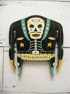 "The Dead Wrestler ~ ""New colours! New Edition! Hand screenprinted and varnished wooden 'day of the dead' inspired Luchadors on 1.5mm plywood! They also arrive in their own lovely box."""
