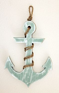 Nautical Wood Anchor with Rope by BrandNewToMe on Etsy