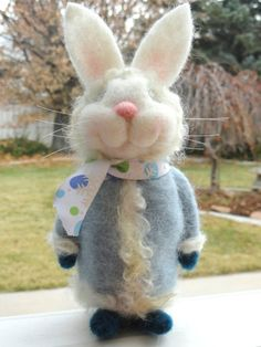 SANTA BUNNY Winter Coat Bunny Needle Felted by TheWhimsicalHare